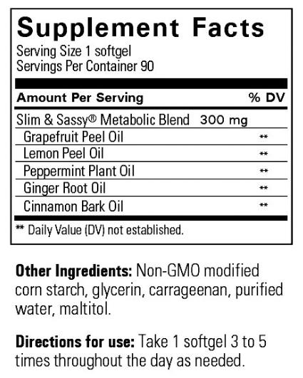 Viên tinh dầu tăng cường trao đổi chất - Slim & Sassy ® Softgels