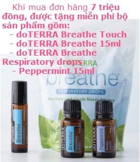 Chương trình khuyến mãi tặng bộ sản phẩm: Tinh dầu Peppermint 15ml, Breathe 15ml, Breathe Touch, Breathe Drops
